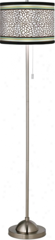 Stacy Garcia Countess Dahlia Giclee Brushed Steel Floor Lamp (99185-g6491)