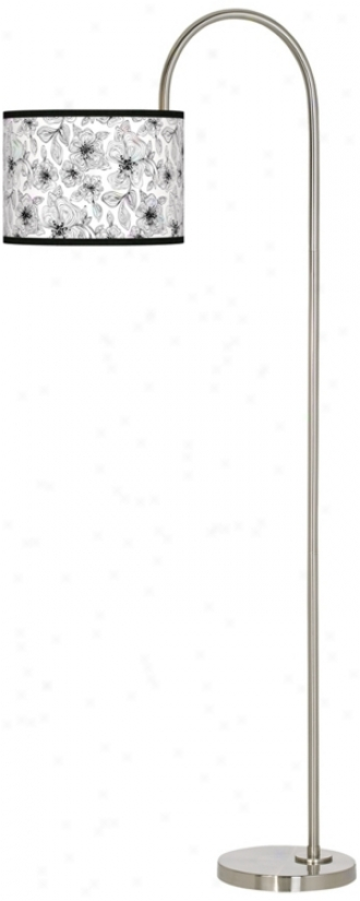 Stacy Garcia Linear Floral Giclee Brushed Steel Floor Lamp (m3882-u4670)