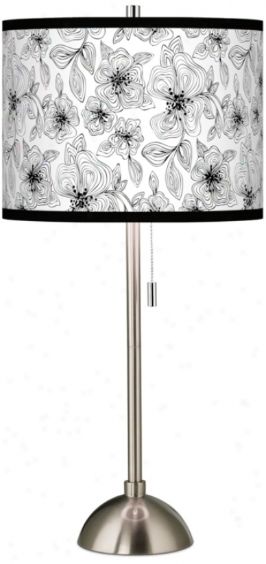 Stacy Garcia Linear Floral Giclee Contemporary Table Lamp (60757-u4662)