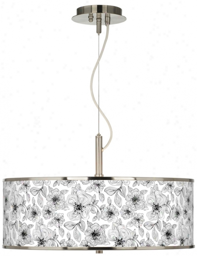 "Stacy Garcia Linear Floral Giclee Be ardent 20"" Pendant Light (t6343-u4738)"