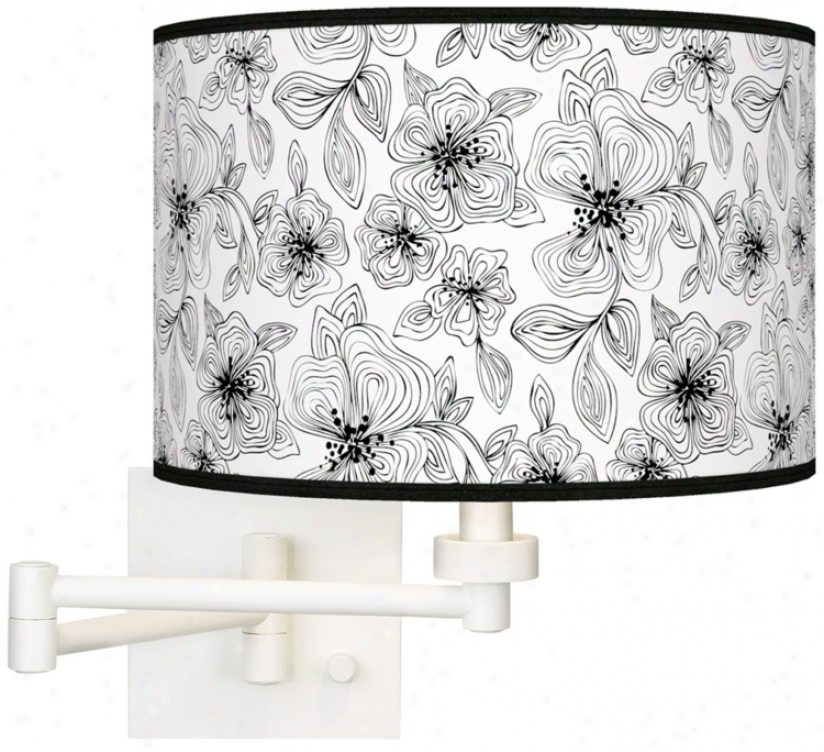 Stacy Garica Lineal Floral Giclee White Swing Arm Wall Light (h6558-u4733)