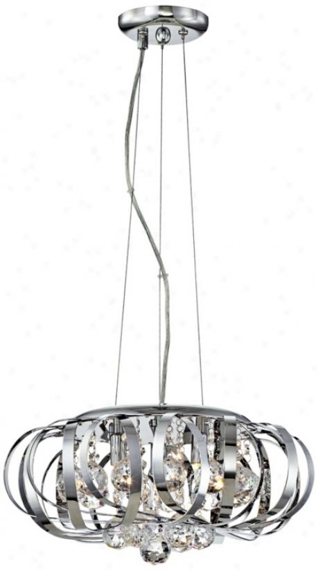 """Steel Ribbons Modern Crystal 15"""" Wide Pendant Chandelier (u0823)"""