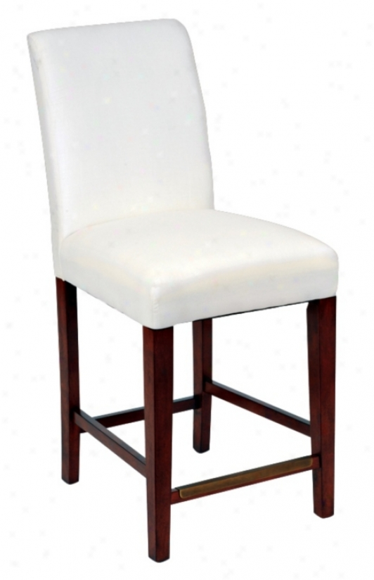 "Straight Leg Muslin Covered 26"" High Reckoner Stool (46339)"