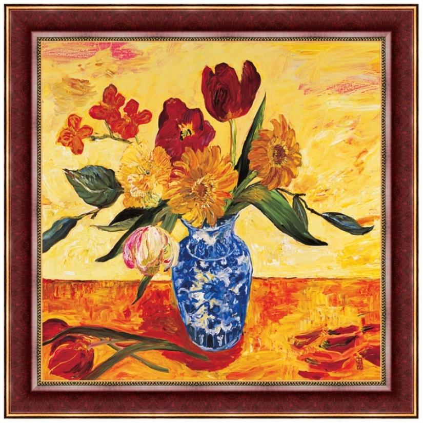 "Summer Flowers 30"" Square Wall Art Print (j5917)"