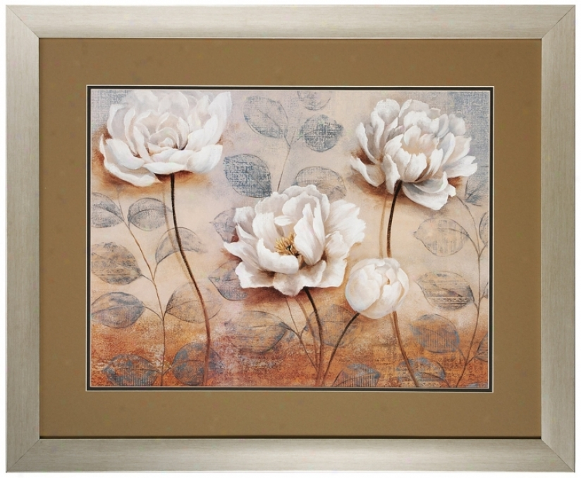 "Summers Embrace I 34"" Wide Framed Floral Wall Art Print (v6979)"