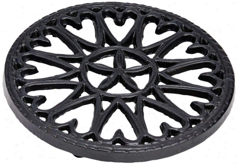 Sunburst Black Round Cast Iron Trivet (u9118)