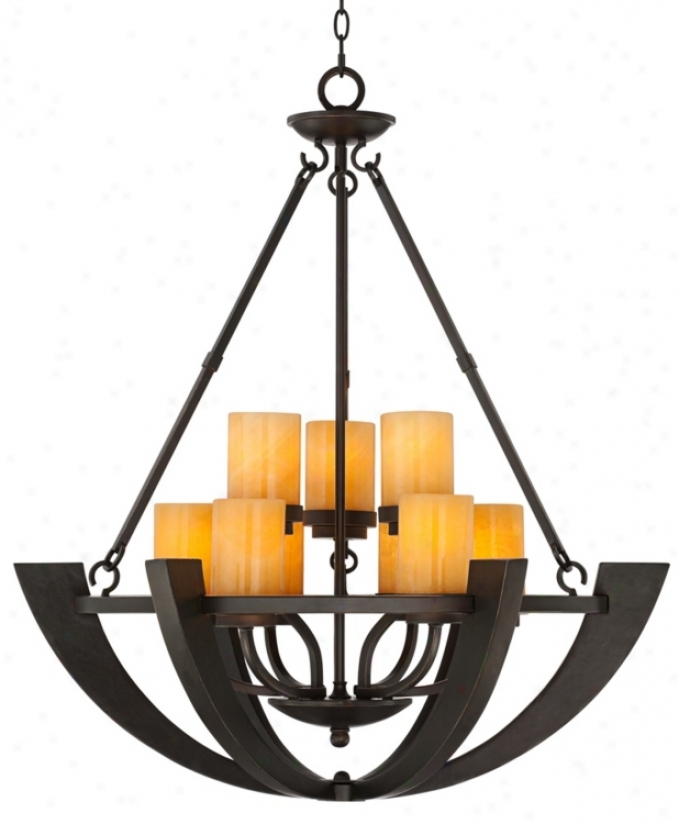 Sunset Onyx Stone 9-light Entry Large Candle Chandelier (r6699)