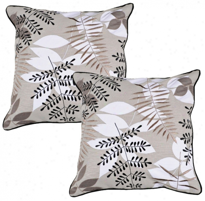 "Surya Taupe Branches 18"" Square Accent Pillow (r6636)"