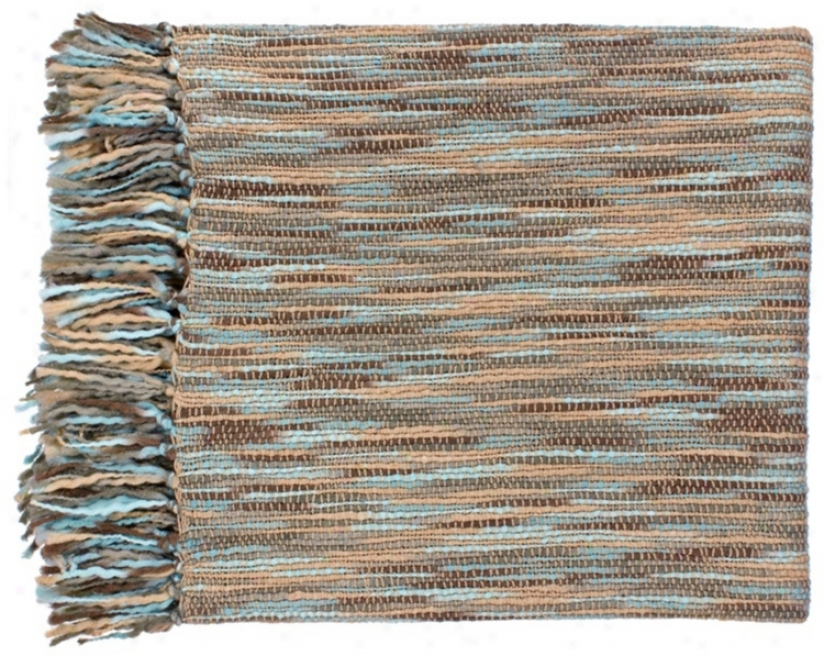 Surya Teegan Blue And Beige Throw Blanket (r6602)