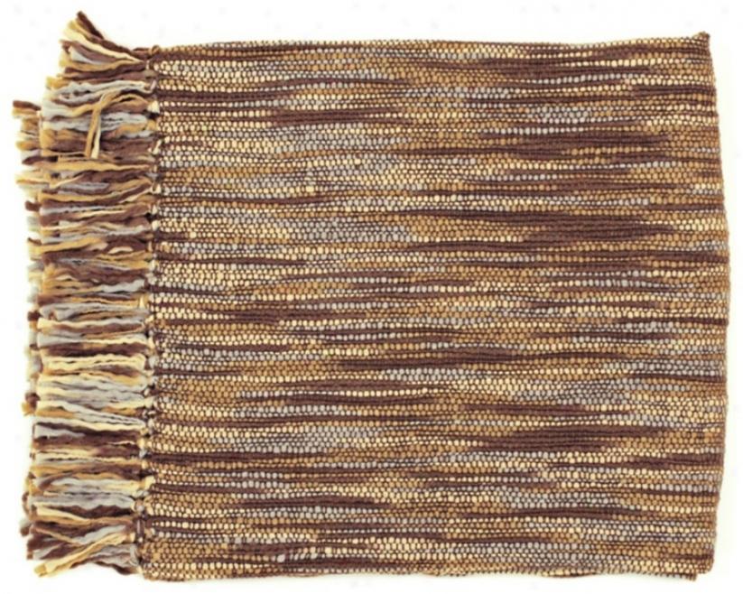 Surya Teegan Brown Gray And Ivory Throw Blanket (r6604)