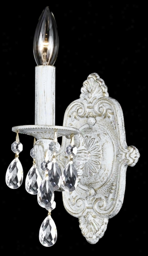 "Sutton Collection Antique White 11"" High  Wall Sconcce (g6372)"