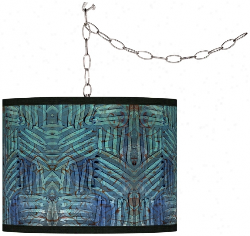 Swag Style Aqua Fractals Giclee Snade Plug-in Chandelier (f9542-w2798)