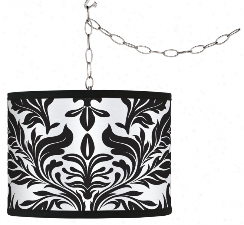 Swag Style Black Tapestry Shade Plug-in Chandelier (f9542-g4319)