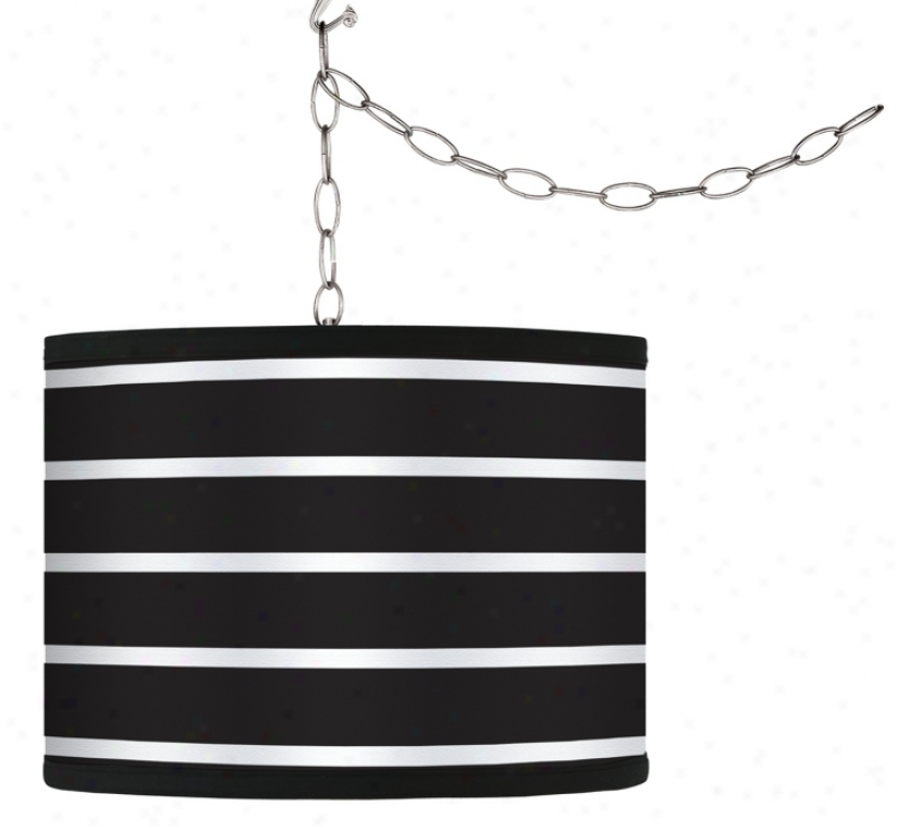 Swag Style Bold Negro Stripe Shade Plug-in Chandelier (f9542-g9579)