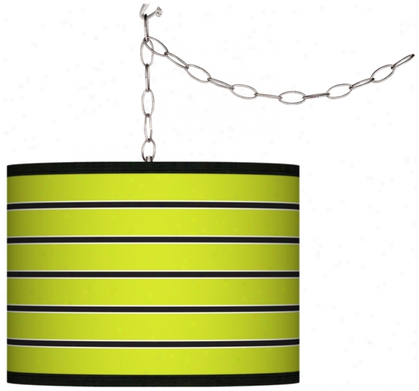 Swag Style Bold Lime Green Stripe Obscure Plug-in Chandelier (f9542-g4285)
