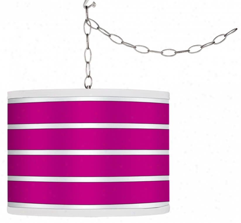 Swag Style Bold Pink Wale Shade Plug-in Chandelier (f95442-g4283)