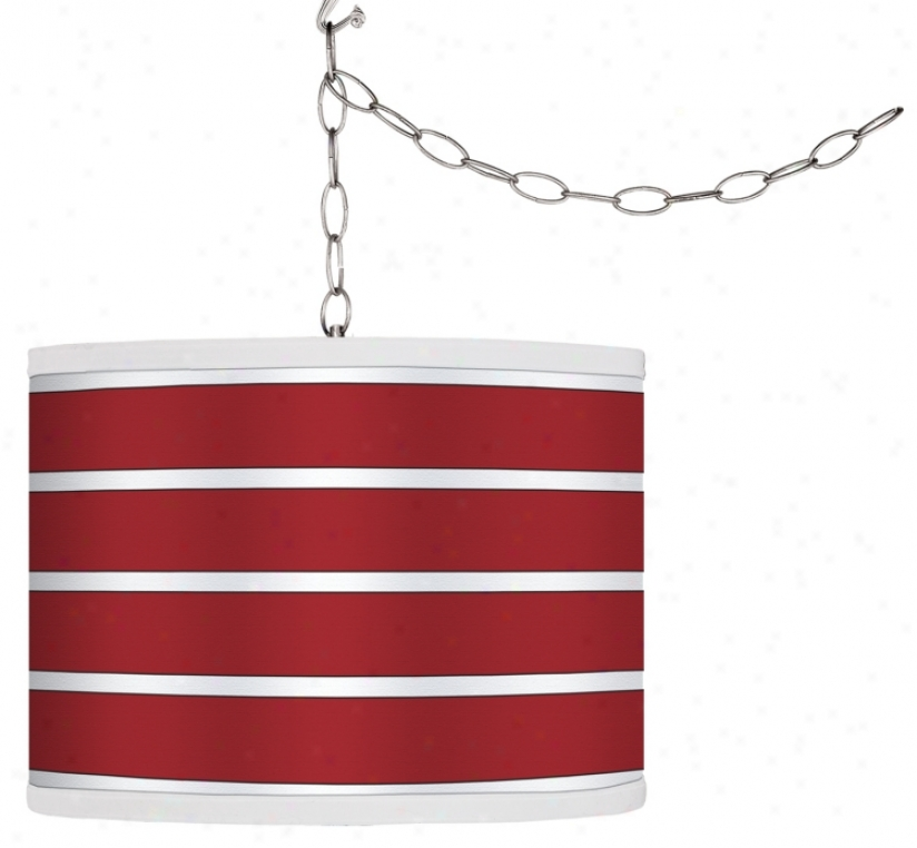 Swag Style Bold Red Stripe Shade Plug-in Chandelier (9f542-g4284)