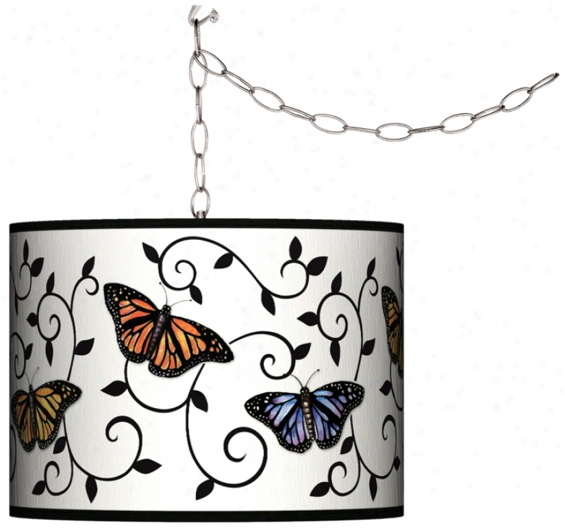 Swag Style Butterfly Scroll Shade Plug-in Chandelier (f9542-j5431)
