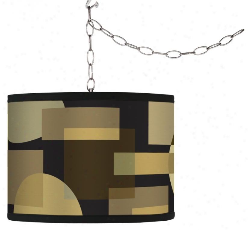Swag Style Earthy Geometrics Shade Plug-in Chandelier (f9542-g4337)