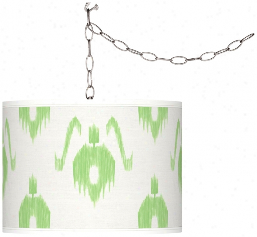 Swag Style Green Ikat Giclde Shade Plug-in Chandelier (f9542-v8324)