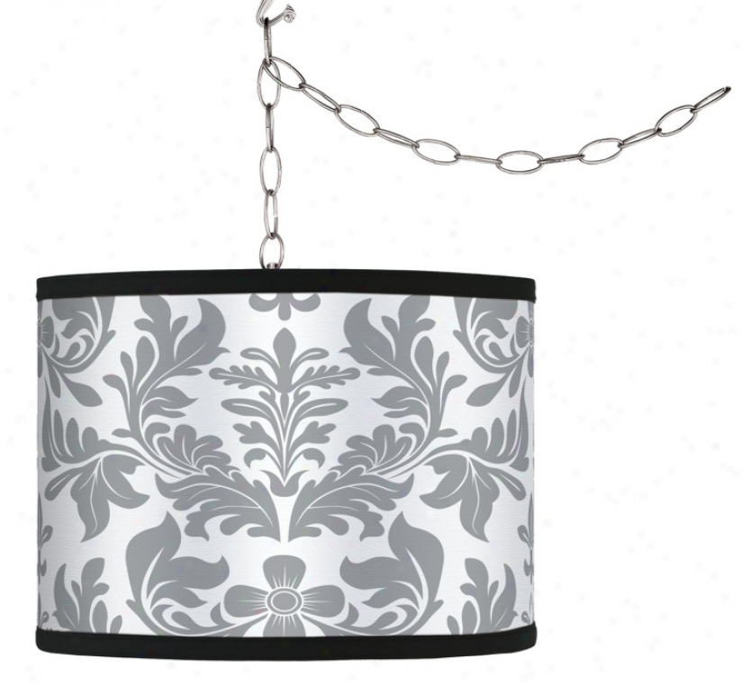 Swag Style Grey Flourish Shade Plug-in Chandelier (f9542-g9588)