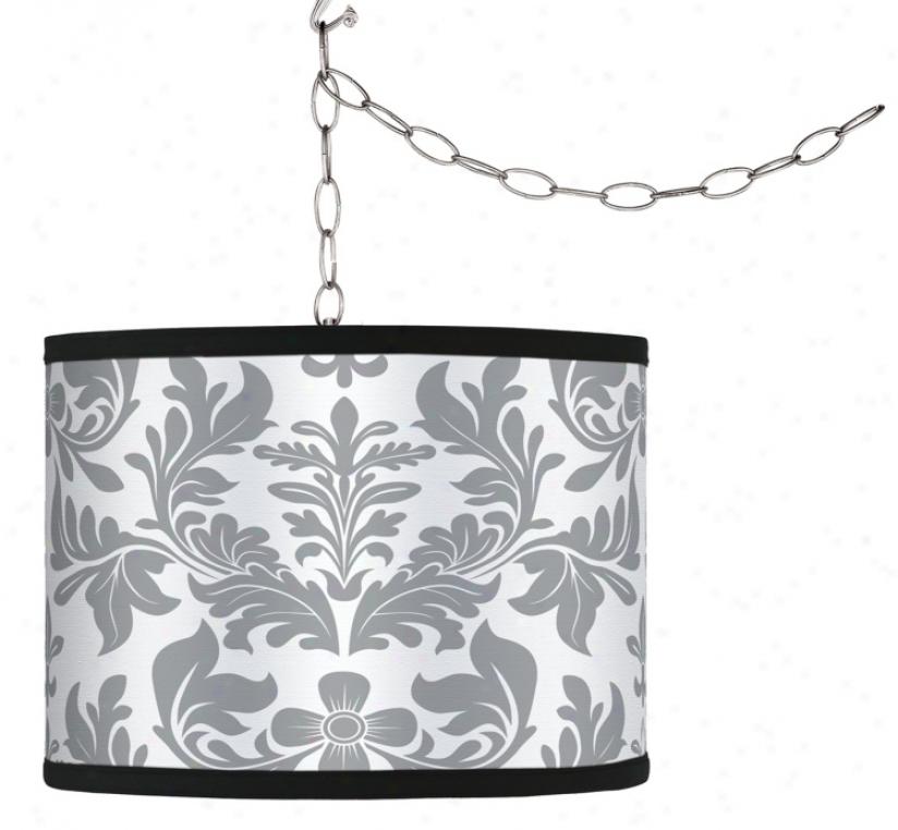 Swag Style Grey Flourish Shade Plug-in Chandelier (f9542-g9588)