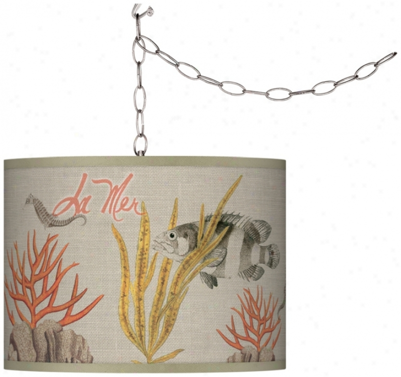 Swag Style La Mer Coral Shade Plug-in Chandelier (f9542-t9418)