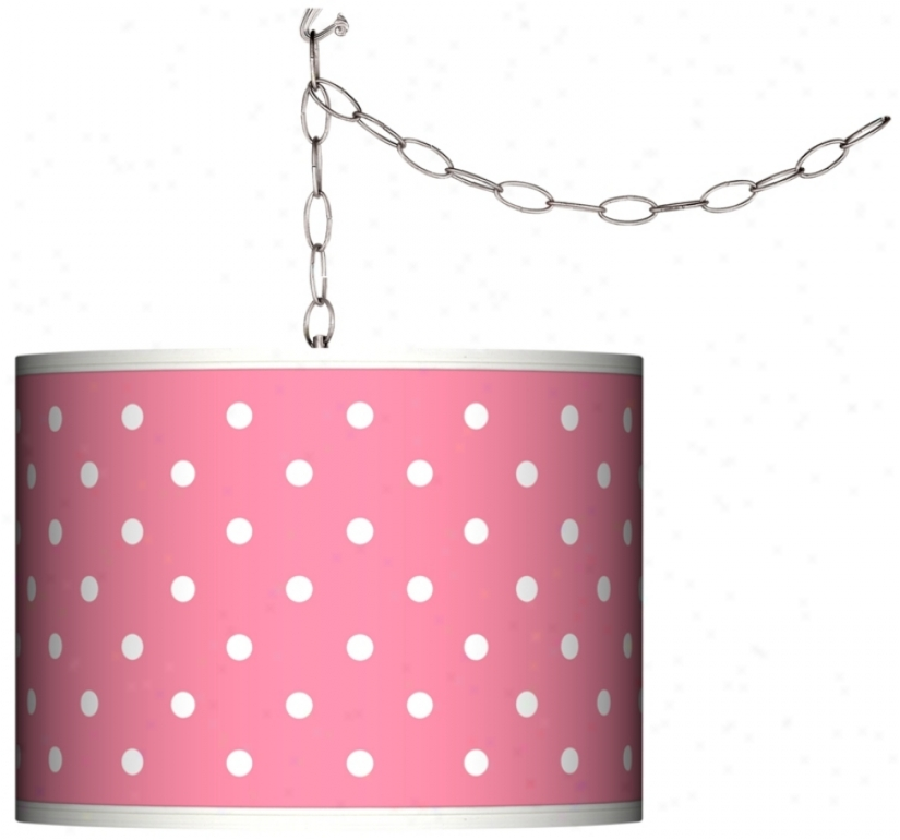 Swag Style Mini Dots Pink Shade Plug-in Chandelier (f9542-m6011)