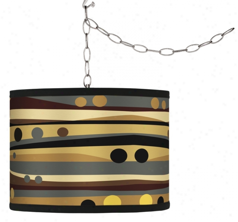 Swag Style Natural Dots & Waves Shade Plug-in Chandelier (f9542-h0914)