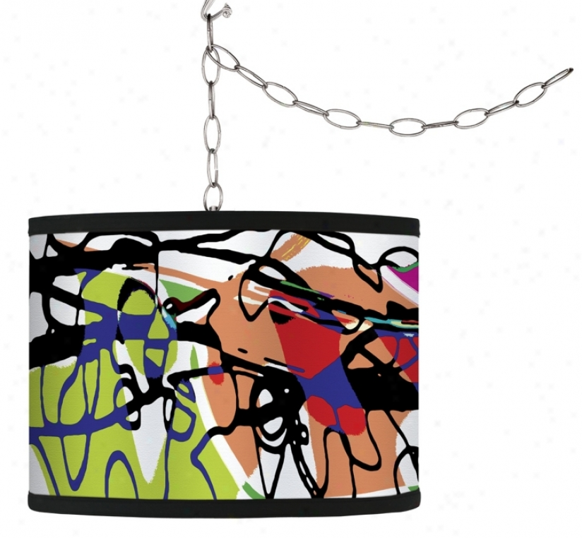Swag Style Paint Enclose in a ~ Shade Plug-in Chandelier (f9542-g9571)