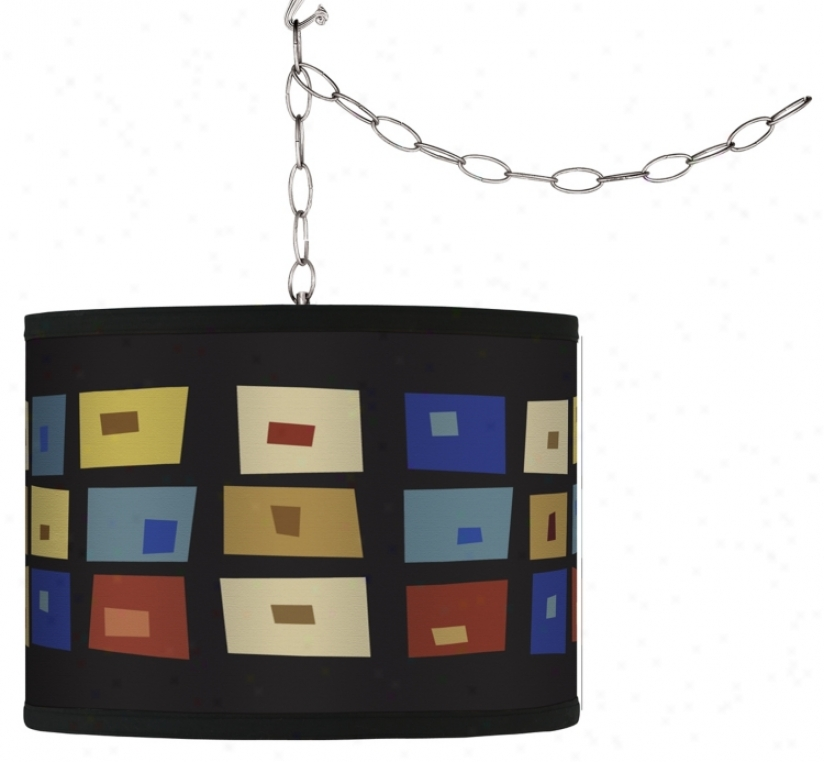 Swag Style Palette Squares Shade Plug-in Chandelier (f9542-g4310