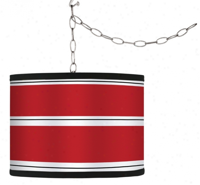 Swag Style Red Stripes Shade Plug-in Chandelier (f9542-g9569)