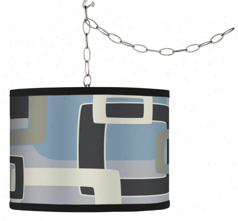 Swag Style Retro Stone Rectangles Shade Plug-in Chandelier (f9542-h0896)