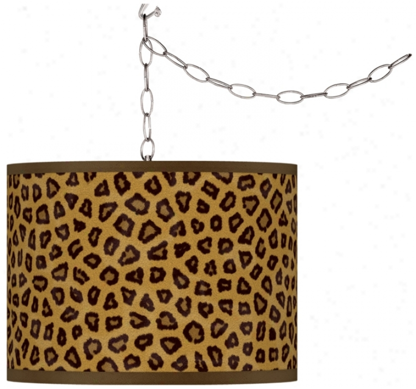 Swag Style Safari Cheetah Giclee Shade Plug-in Chandelier (f9542-r2409)