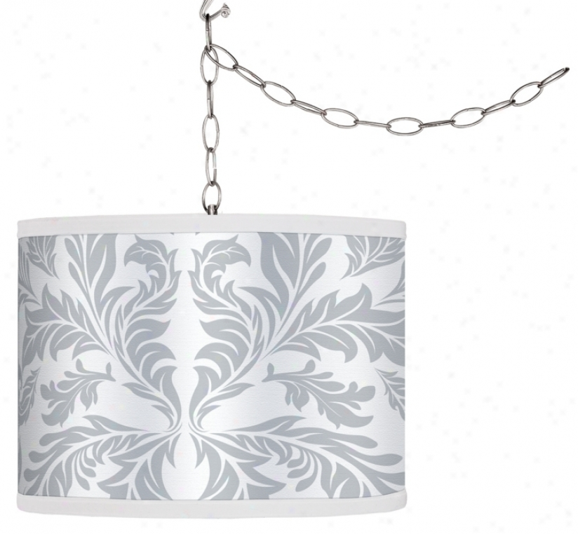 Swag Style White Baroque Shade Plug-in Chandelier (f9542-g4325)