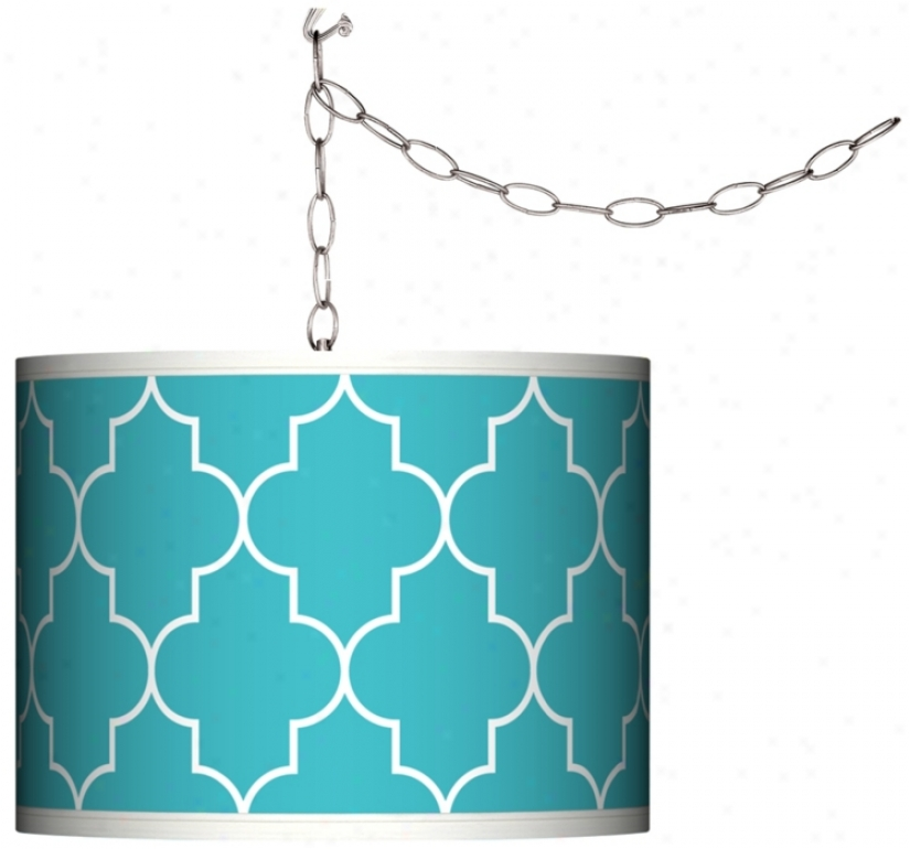 Swag Style Tangier Blue Shade Plug-in Chandelier (f9542-n0633)