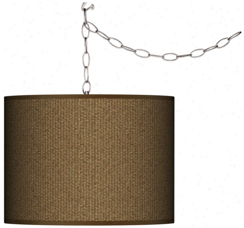 Swag Style Woven Wicler Calico Giclee Shade Plug-in Chandelier (f9542-k2068)