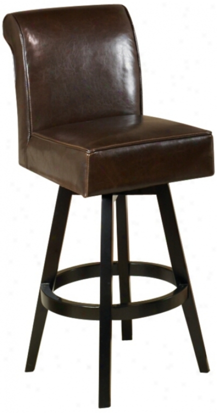 "Swell Chocolate Brown Leather 30"" High Swivel Bar Discharge (p6121)"