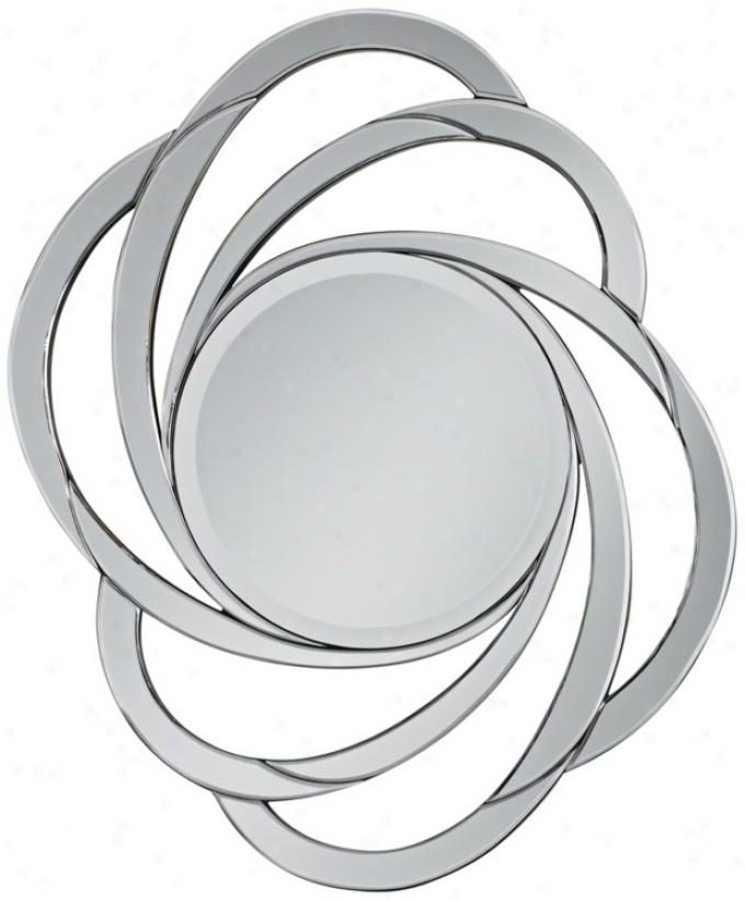 "Swirl Openwork Frameless 32"" High Decorative Wall Mirror (v4297)"