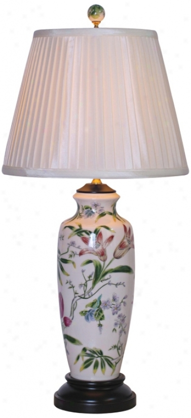 Tall Lily Ginger Jar Porcelain Table Lamp (g6965)