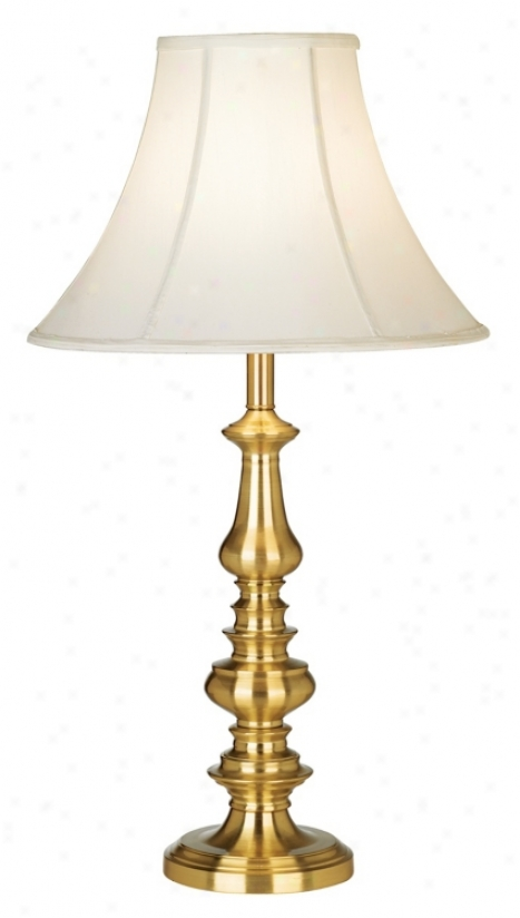 Tall Satin Brass Finish Candlestck Base Table Lamp (30166)