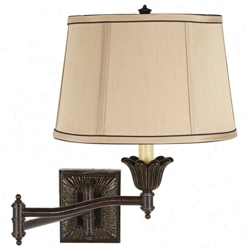 Tan And Brown Trim Drum Shade Plug-in Bias Arm Wall Lamp (u3743-43430)