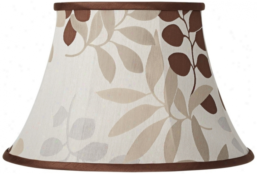 Tan Floral Silhouette Lamp Shade 10x17x11 (spider) (v3797)