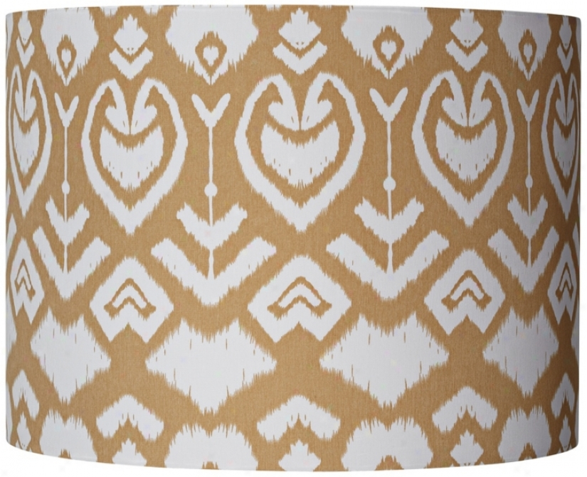 Tan Ikat Pattern Drum Shade 12x22x9 (spider) (v4682)