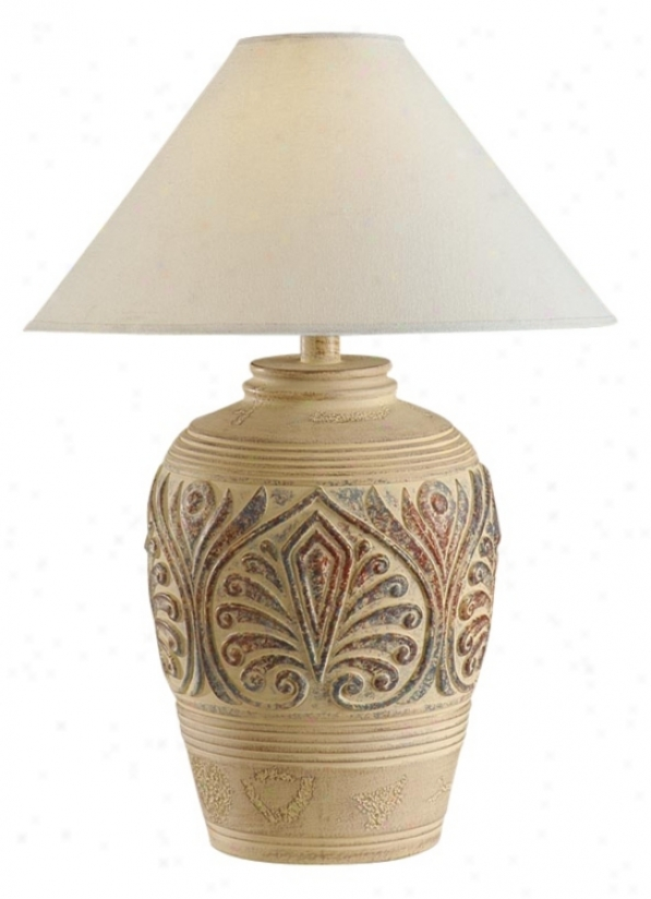 Tan Red And Green Leaf Design Table Lamp (h1301)
