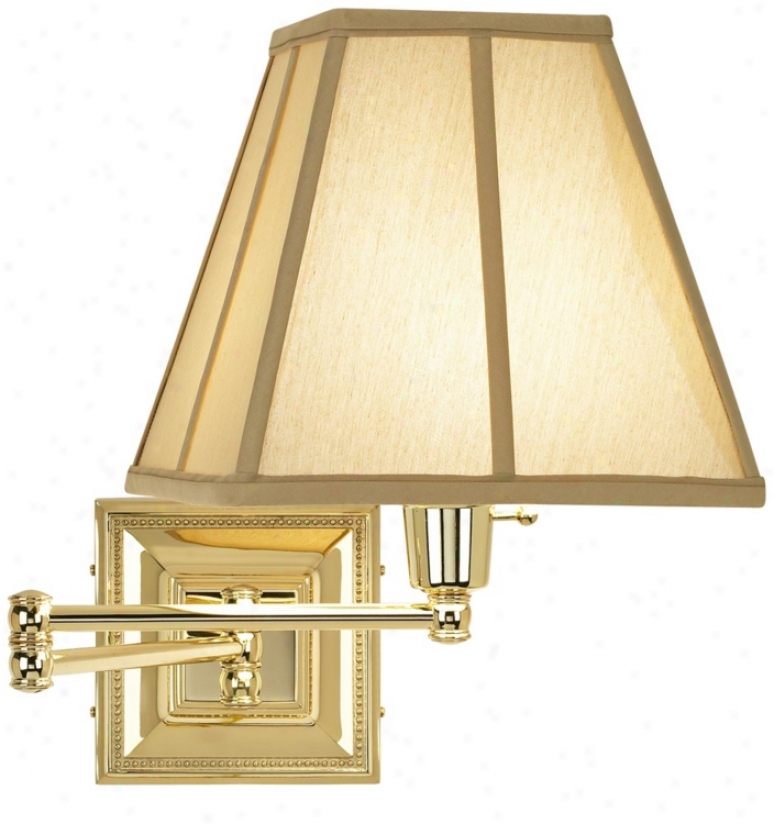 Tan Square-cut Shade Brass Beaded Plug-in Swing Arm Wall Lamp (77426-23976)