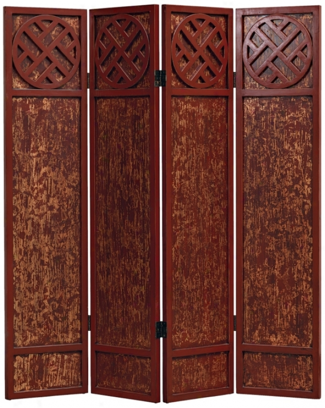 Tang Antique Red Asian 4-panel Room Divider Screen (p2874)
