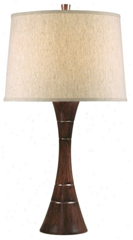Tapered Wood Grain Column Table Lamp (t0361)