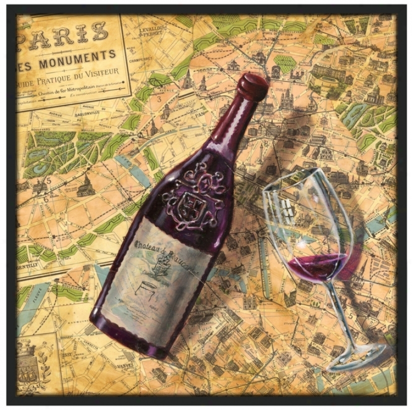 "Taste Of Paris 37 1/2"" Square Black Gilcee Wzll Art (k4133-m6958)"