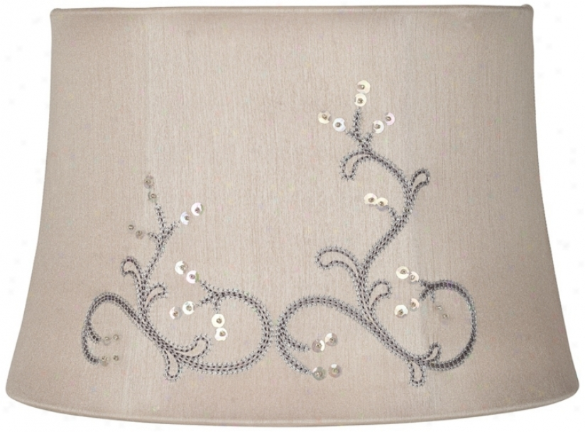 Taupe Sequins Embroidered Drum Lamp Shade 10x12x8 (spider) (v3783)